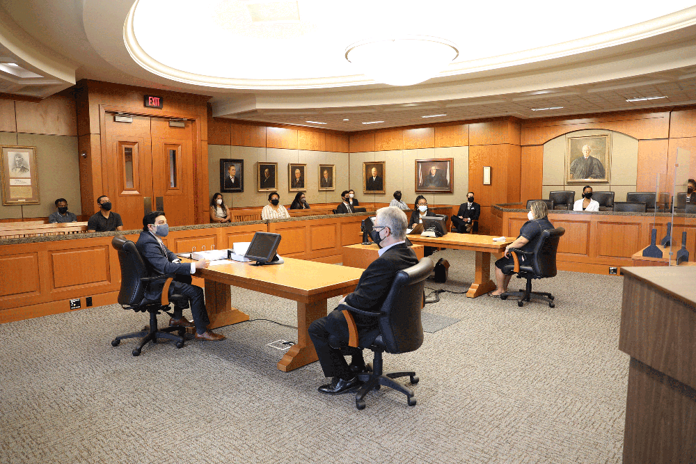 Trial with Jury Seated in the Gallery